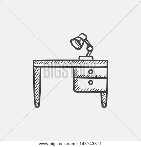 Desk lamp on table sketch icon for web, mobile and infographics. Hand drawn vector isolated icon.