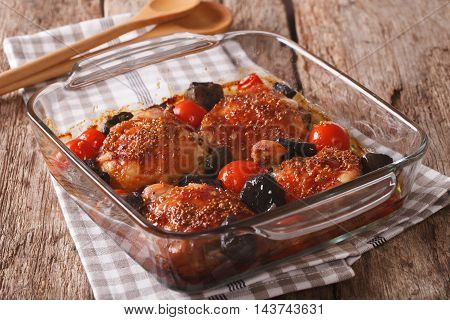 Roasted Pieces Of Chicken With Mustard, Tomatoes And Mushrooms. Horizontal