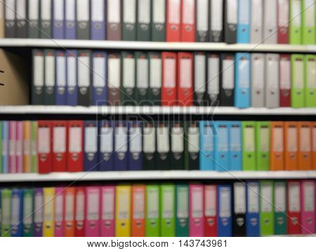 Plastic file for documents In the stationery store. Colorful plastic file for documents