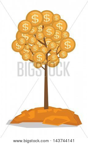 Money tree with golden coins vector flat design illustration isolated on white background.