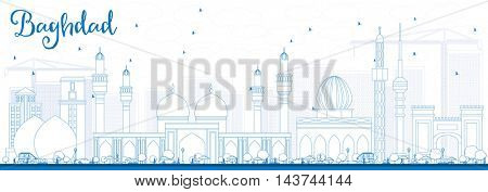 Outline Baghdad Skyline with Blue Buildings. Vector Illustration. Business Travel and Tourism Concept with Historic Buildings. Image for Presentation Banner Placard and Web Site.