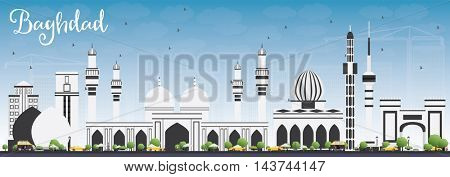 Baghdad Skyline with Gray Buildings and Blue Sky. Vector Illustration. Business Travel and Tourism Concept with Historic Buildings. Image for Presentation Banner Placard and Web Site.