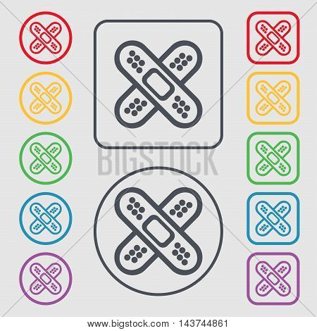 Adhesive Plaster Icon Sign. Symbol On The Round And Square Buttons With Frame. Vector