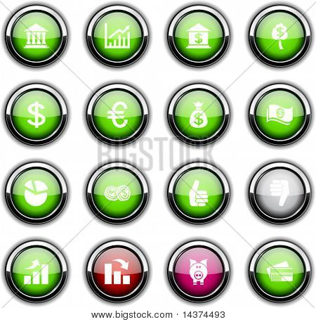 Money set of round glossy icons.