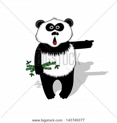 Panda with a bamboo branch in his paw. vector