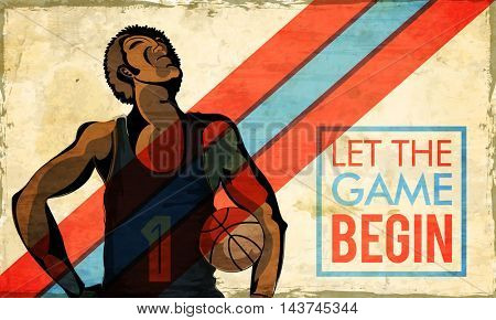 Creative illustration of a Basketball Player on abstract background, Vintage Poster, Banner or Flyer design for Sports concept.