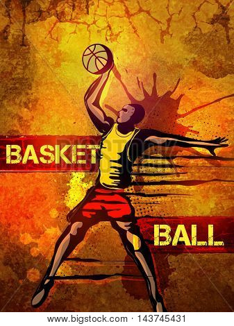 Basketball Player in action, Creative abstract sports background with splash, Can be used as Poster, Banner or Flyer design.
