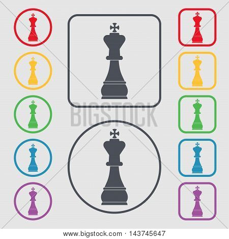 Chess King Icon Sign. Symbol On The Round And Square Buttons With Frame. Vector