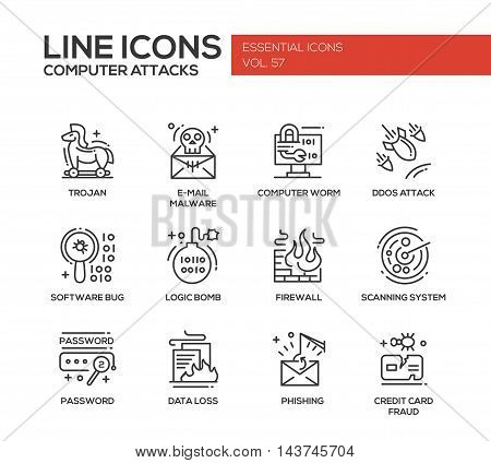 Computer Attacks - modern vector plain line design icons and pictograms set. Trojan, e-mail malware, worm, ddos, software bug, logic bomb, firewall, scanning system, password, data loss, phishing, credit card fraud