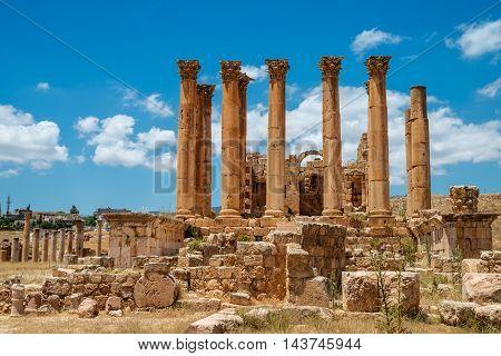 Temple of Artemis in the ancient Roman city of Gerasa Jerash Jordan.