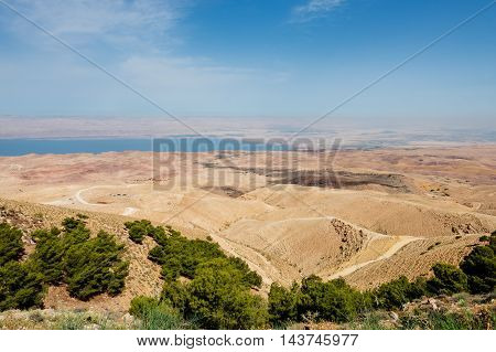 Landscape view of the Dead Sea coastline. Dead Sea Jordan.