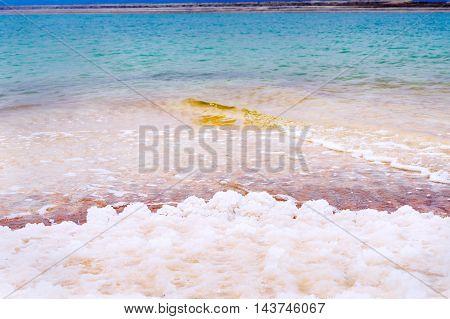 Salt crystals on the Dead Sea shore Jordan. dead sea salt crystals.