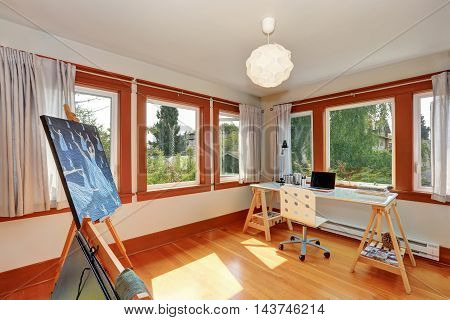 Small Home Studio For Artist  With Desk And Drawing Equipment