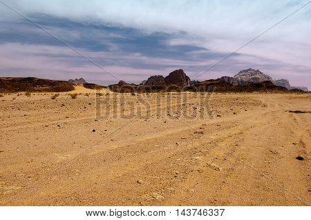 Wadi rum desert landscape at sunset Jordan