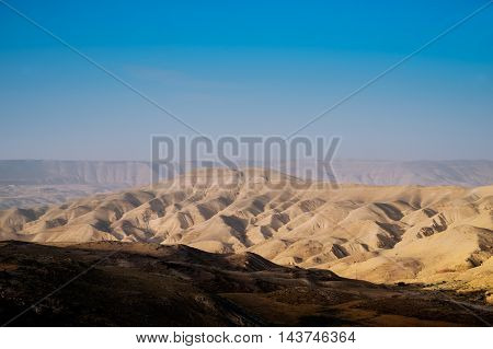 Moon landscape in Jordan on the evening, sand mountains.