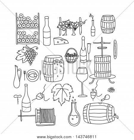 Vector line doodle icon set. Winemaking theme: barrel bottle wineglass wine vineyard degustetion crushing pressing bottling . Doodle line wine icons for polygraphy web design logo app UI.