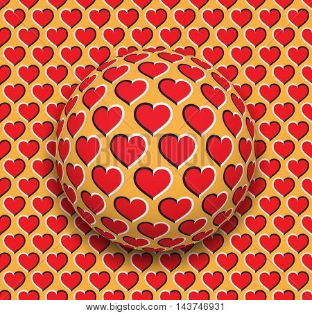 Ball with a hearts pattern rolling along the red hearts surface. Abstract vector optical illusion illustration. Romantic background and tile of seamless wallpaper.