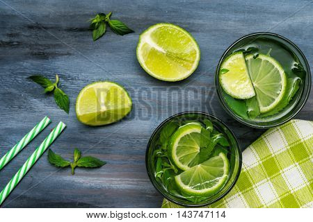 Glasses with mojito on wooden background. Mojito ingredients top view