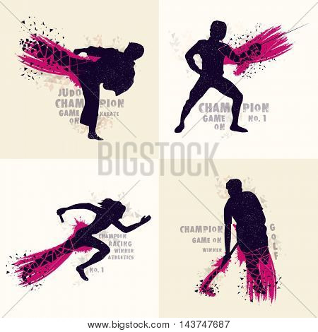 Set of different Sports including Martial Art, Fencing, Relay Race and Hockey with abstract illustration of players in action.