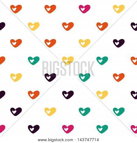 Vector hand drawn cartoon seamless pattern with hearts. Love romance theme. Colored love pattern for paper textile polygraphy game web design
