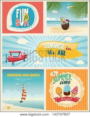 Summer logo and labels design with flat modern icons. Set of summer vacation posters