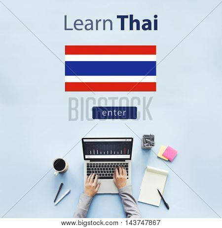 Learn Thai Language Online Education Concept