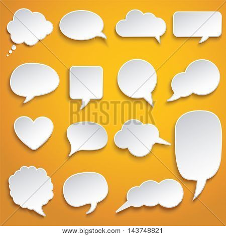 Vector abstract illustration of white paper rounded speech bubbles on orange background.