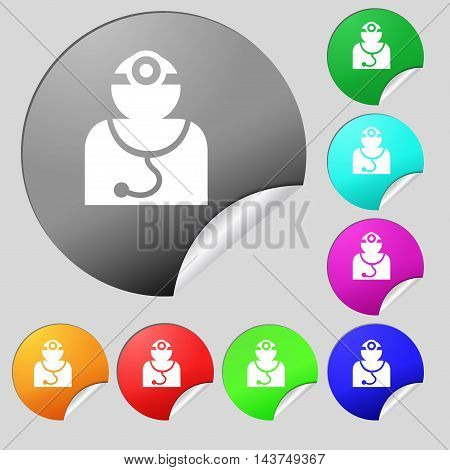 Doctor With Stethoscope Around His Neck Icon Sign. Set Of Eight Multi Colored Round Buttons, Sticker