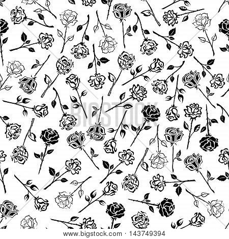 Roses floral seamless background. Wallpaper with pattern of black and white roses icons. Heraldic flower buds with stems, leaves, thorns