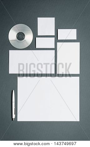 Mock-up business template with cards, papers, disk. Gray background