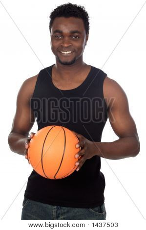 Attractive Young Person With Basketball Ball