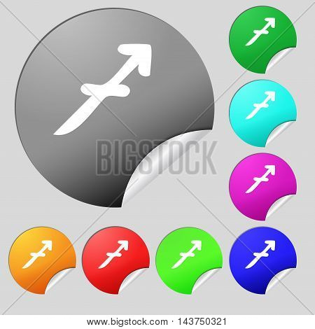 Sagittarius Icon Sign. Set Of Eight Multi Colored Round Buttons, Stickers. Vector