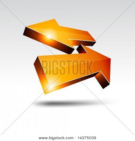 3D return arrows. Vector illustration.