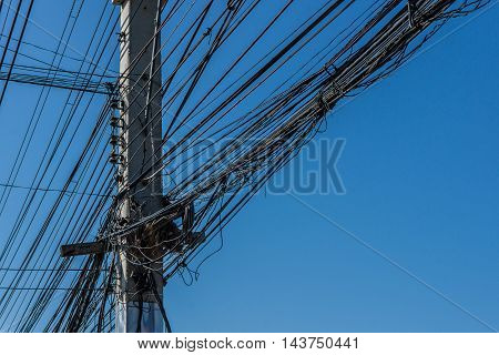 Wire and cable clutter. Potential danger from a mess of wires.