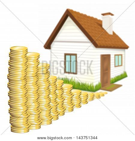 House and money over white isolated on a white background