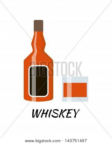 Vodka alcohol bottle in a flat style. Icon vector illustration