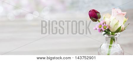Bouquet with roses and tulip for wedding celebrations