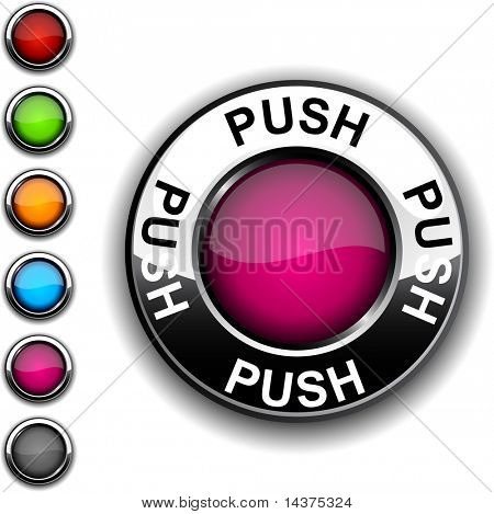 Push  realistic button. Vector.