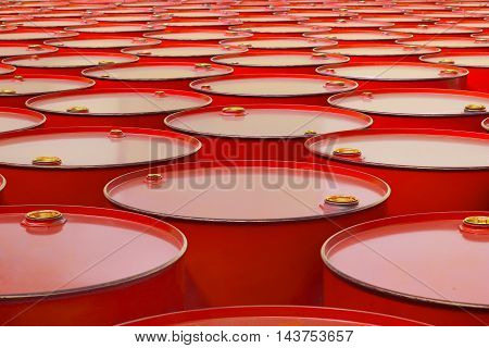 The a metal barrels of red color
