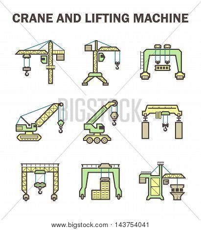 Crane and lifting machine icons sets isolated on white background.