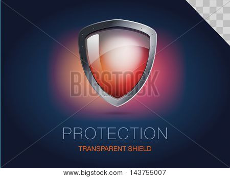 Realistic metal shield with transparent armored glass. Vector illustration of a protection or security. Dark blue background