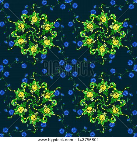 Vector boho chic flower seamless pattern. Mandala design element. Unusual flourish ornament. Blue green yellow lilac. Vector illustaration.