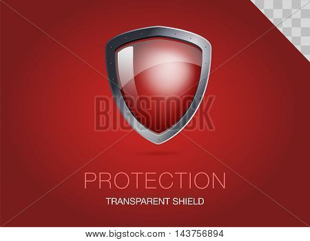 Realistic metal shield with transparent armored glass. Vector illustration of a protection or security. Red background