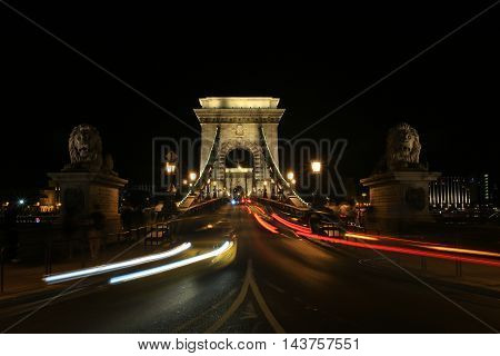 The a Night Magnificent Chain Bridge. Budapest. Hungary.