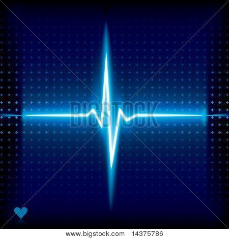 Latido del corazón azul. Gráfico del electrocardiograma.