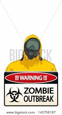illustration of man in yellow biohazard protective siut with zombie sign on white background