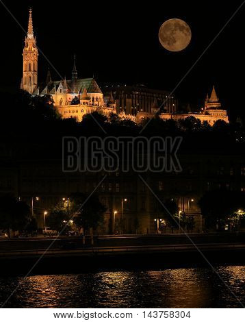 Chain Bridge and Buda Castle at night Budapest Hungary.