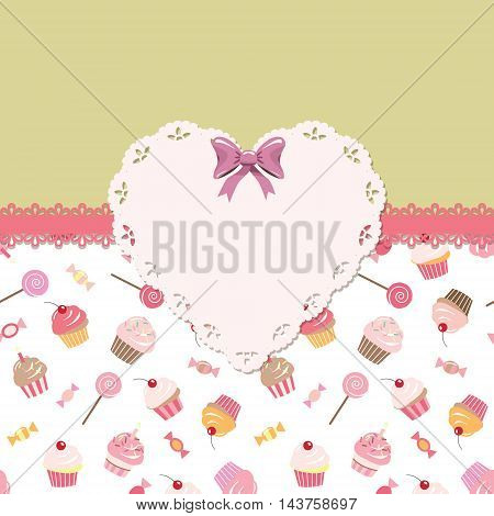 Cute template for girls. Can be used for scrapbook birthday card baby shower design. Seamless pattern included.