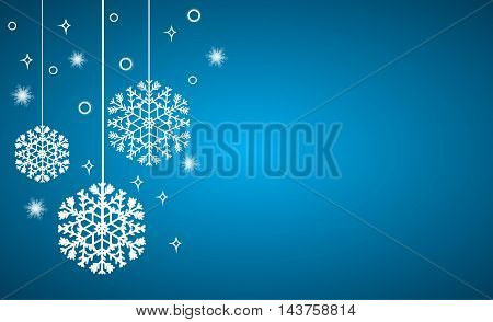 Christmas background, hanging snowflakes on blue, vector illustration