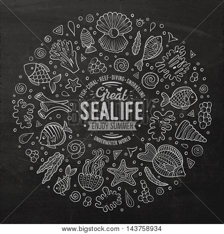 Chalkboard vector hand drawn set of Sealife cartoon doodle objects, symbols and items. Round frame composition